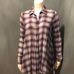 Free People cotton loose plaid flowy button down